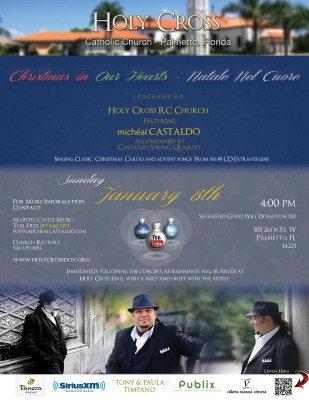 "Michéal Castaldo to Perform ""Christmas in Our Hearts—Natale Nel Cuore"" in Palmetto, FL on Jan. 8, 2017"