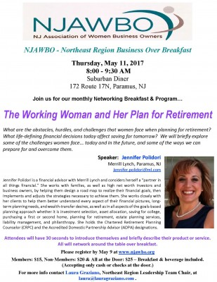 Network in Paramus with the New Jersey Association of Women Business Owners on May 11 in Paramus, New Jersey.