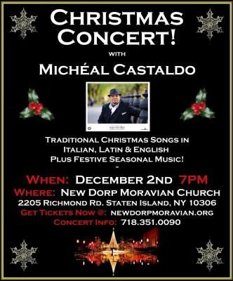 This traditional Italian Christmas concert is a fundraiser and community outreach for New Dorp Moravian Church.