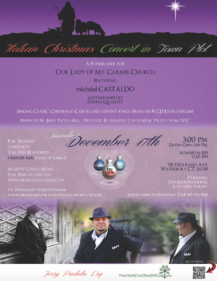 This concert will capture your heart and imagination with the spirit of the holidays at OLMC Church, Waterbury, CT.