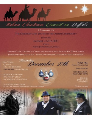 Michéal Castaldo Italian Christmas Concert 12/27 in Buffalo to Benefit Alden Community Children