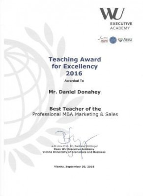 Daniel Donahey, Teaching Award for Excellency, 2016