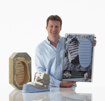Moon and Space 's director David Mather with original mould and Apollo moon boot presentation