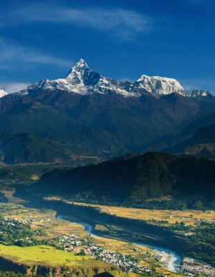 Mt Fishtail as seen from Sarangkot hill - Kathmandu Chitwan Pokhara tour