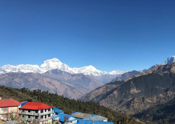 Ghorepani village with Mt Dhaulagiri (8,167 m / 7th highest in the world)