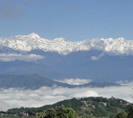 Himalayas seen from the short trek around Kathmandu valley