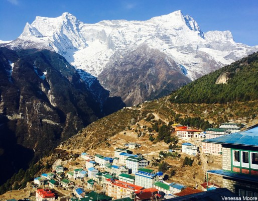 Namche bazaar with Kongde mountain in the background as seen along the Everest trek.